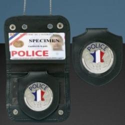 Porte carte avec chaine et medaille police