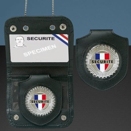 Porte carte avec chaine et medaille securite