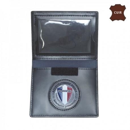 Porte carte cuir format cb avec insigne agent securite privee