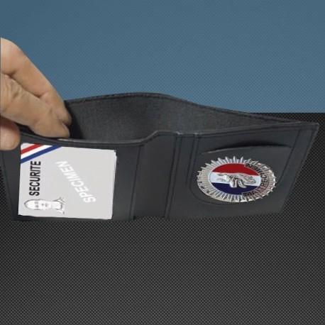 Porte carte cuir format cb + billet avec insigne maitre chien