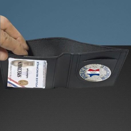 Porte carte cuir format cb + billet avec insigne police municipale