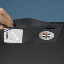 Porte carte cuir format cb + billet avec insigne securite