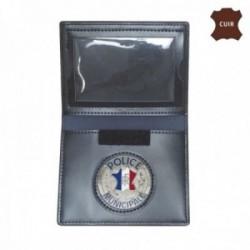 Porte carte cuir format cb avec insigne police municipale