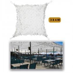 Filet de camouflage renforcé Blanc 3m x 4m +câble acier 80% d ombrage