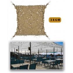 Filet de camouflage renforcé Sable 3m x 4m +câble acier 70/80% d ombrage