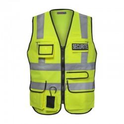 Gilet de sécurité multipoche jaune