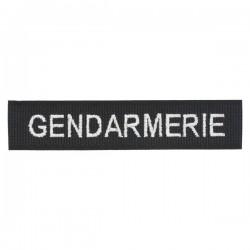 Barrette Sur Velcro Noir GENDARMERIE Fil Blanc