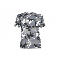 Tee-shirt militaire camouflage urbain gris manches courtes
