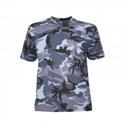 Tee-shirt camouflage urban bleu manches courtes