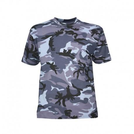 Tee-shirt militaire camouflage urbain bleu manches courtes