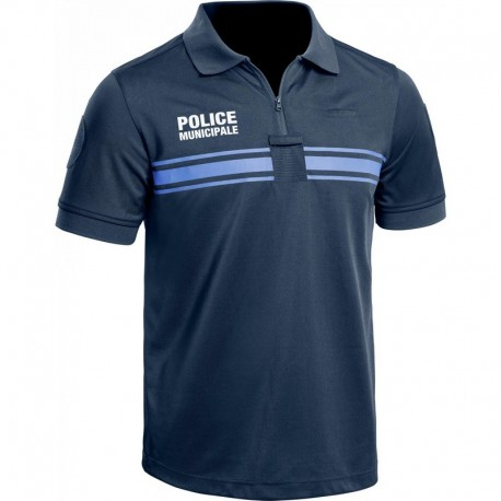 Polo Police Municipale P.M. ONE manches courtes bleu