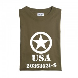 "Tee-shirt vert olive M. DRUCK "" ALLIED STAR"""