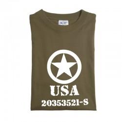 """Tee-shirt vert olive M. DRUCK """" ALLIED STAR"""""""