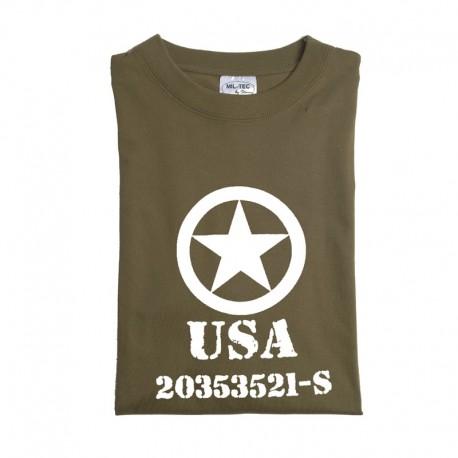 """Tee shirt vert olive M. DRUCK """" ALLIED STAR"""""""