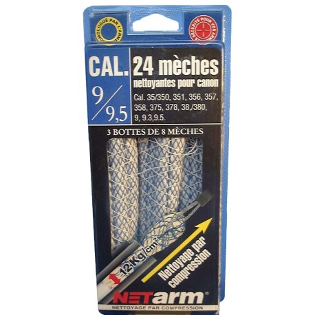 Blister 24 mèches bleues pour calibres 9 à 9,5 mm