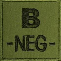 Groupe sanguin B négatif brodé sur tissu vert OD