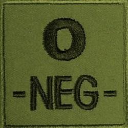 Groupe sanguin O négatif brodé sur tissu vert OD
