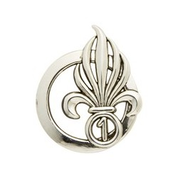 Insigne de béret argenté Légion 1er Régiment Étranger de Cavalerie