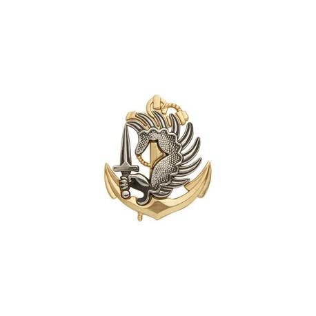 Insigne de béret argenté/doré Troupes Aéroportées de Marine