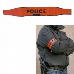Brassard police orange auto-agrippant