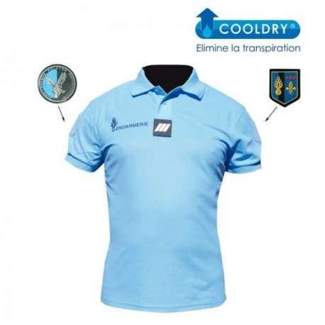 Polo gendarmerie bleu cooldry anti humidite maille piquee